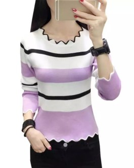 Long Sleeve Striped Pattern Casual Top