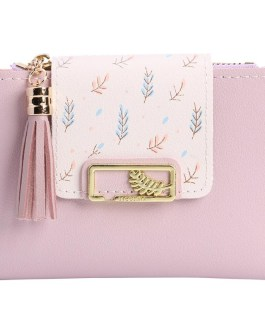 PU Leather Tassels Cute Korean Card Holder Short Wallet