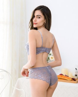 Sexy lingerie lace padded bra underpants set