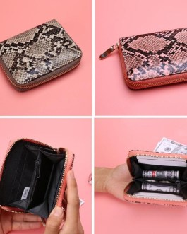 Small Serpentine PU Leather Card Holder Short Wallet