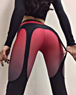 Sports Contrast Color Plaid Printed High Waisted Leggings