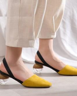 Strange Style Genuine Leather High Heels Sandals