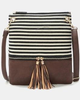 Striped Tassel Casual Canvas Shoulder Crossbody Bag
