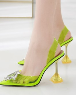 Transparent Clear Crystal Colorful Pvc High Heels Sandals
