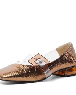 Transparent Pvc Buckle Low Heels Pumps Casual Sandals