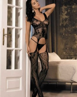 Bodystockings Stretch Sheer Jacquard Cut Out Lace Sexy Hosiery
