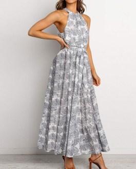 Chiffon Floral Sleeveless Maxi Dresses