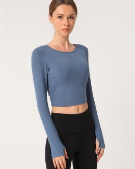 Crossed Straps Backless Fitted Yoga T Shirts