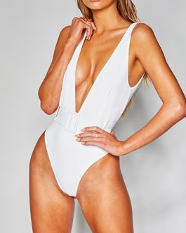 Deep V-Neckline Belt and Buckle Accented Swimsuit