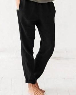 Elastic Waist Pure Color Side Pockets Harlan Pants