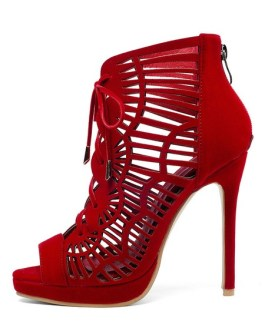 Lace Up Cut-out Boots Peep Toe Stiletto Heel Sandals