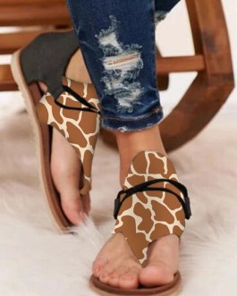 Leopard Boots Open Toe Printed Suede Leather Flat Sandals