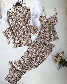 Leopard Printing Sleepwear 3 Pieces Set