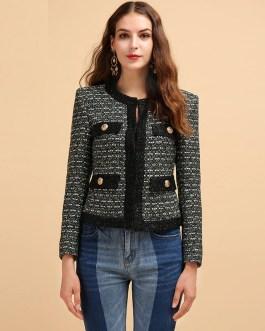 Long Sleeve Button Stylish Weaving Coats Tops