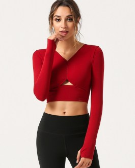Long Sleeve Pure Color Cropped Plain T Shirt For Sports
