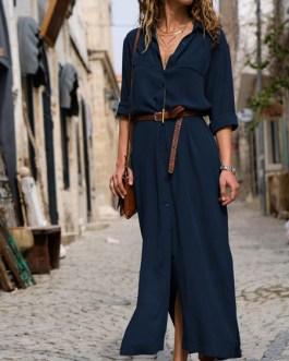 Long Sleeves Chiffon Shirt Maxi Dresses
