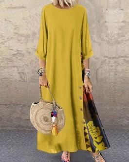 Maxi Dresses Half Sleeves Jewel Neck Printed Long Dress