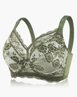 Plus Size Embroidery Full Coverage Adjustable Push Up Bra