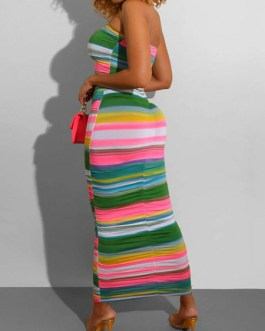Rainbow Stripe Sleeveless Maxi Dresses