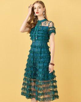 Short Sleeve Cake Lace Ruffles Mesh Vintage Dresses