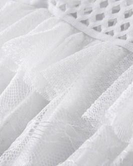Short Sleeves Bateau Cut Out Layered Lace Maxi Dress