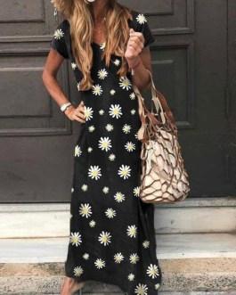 Short Sleeves Polka Dot V-Neck Polyester Long Maxi Dress