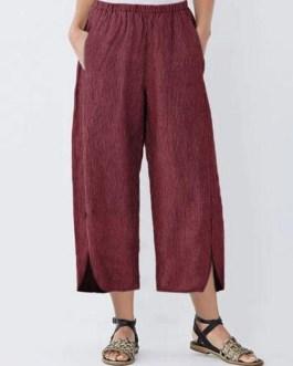 Wide Leg Striped Elastic Waist Pockets Trousers Pants