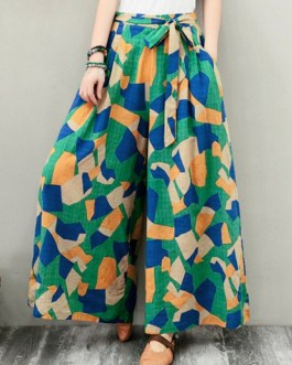 Wide-Legged Geometric Print Elastic Waist Side Pockets Pants