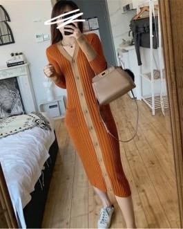 Basic V-Neck Slim Fit Knitted Long Midi Sweater Dress