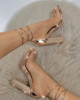Chunky Heels – Rhinestones and Metallic Trim