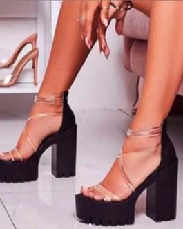 Clear 4.5″ Chunky Heels – Heavily Treaded Soles