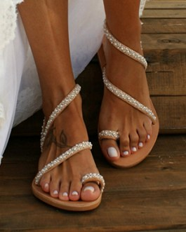 Diagonally-Wrapped Strappy Sandals – Miniature Pearls
