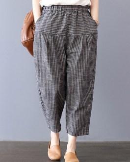 Elastic Waist Stripe Pocket Harem Pants