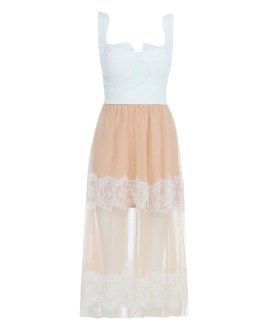 Elegant Lace Evening Party Midi Dress