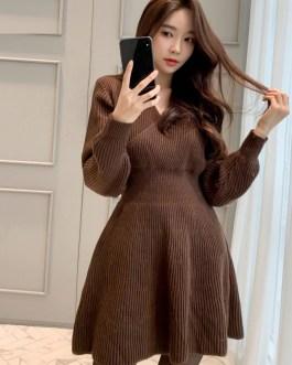 Elegant V-neck Slim Waist Knitted Sweater Dress