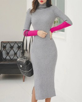 Fashion Patchwork Hit Color Knitted Cotton Skinny Sweater Dress