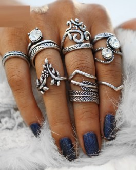Flower Leaves Crystal Rings Party Jewelry 8 PCS/Lot