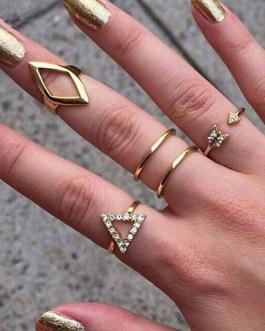 Gold Geometric Shape Rhinestone Metal Rings