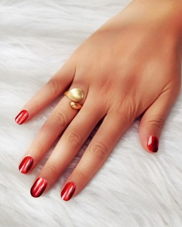 Gold Rings Open Cuff Leaf Shaped Jewelry