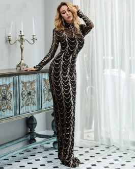 High Neck Sequin Long Sleeve Party Maxi Dresses