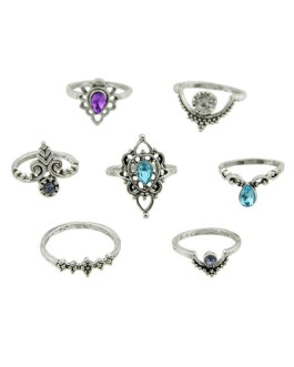 Knuckle Ethnic Style Embossed Hollow Out Gems 7 Pieces Ring Set