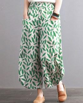 Leaves Print Elastic Waist Pants