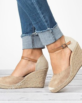 Sexy Two Tone Wedge Sandals – Narrow Ankle Strap with Buckle