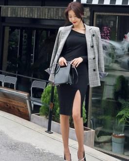 Slim Hip Packaged Slash-Neck Side Slit Knitted Cotton Sweater Dresses