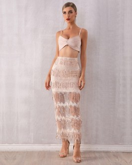 Spaghetti Strap Sequined Two Pieces Set