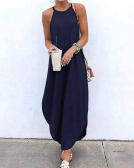 Straps Neck Sleeveless Floor Length Maxi Dress
