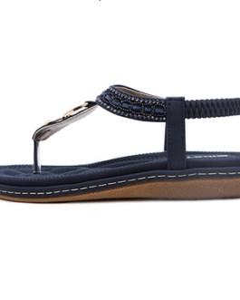 Thong Sandal – Elastic Back / Gold Buckle