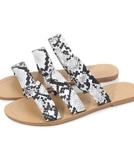 Triple-Strap Flat Sandals – Almond Toes
