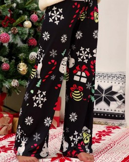 Wide Leg Christmas Print Elastic Waist Trousers Pants