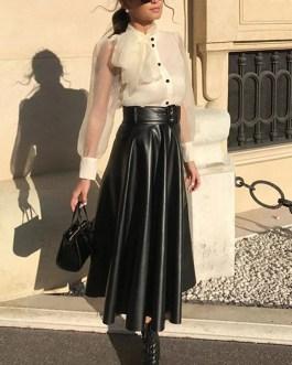 Elegant Tie Belt High Waist Long Pleated Skirts